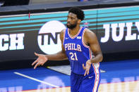 Philadelphia 76ers' Joel Embiid reacts after making a three-pointer during the second half of Game 5 in a second-round NBA basketball playoff series against the Atlanta Hawks, Wednesday, June 16, 2021, in Philadelphia. (AP Photo/Matt Slocum)