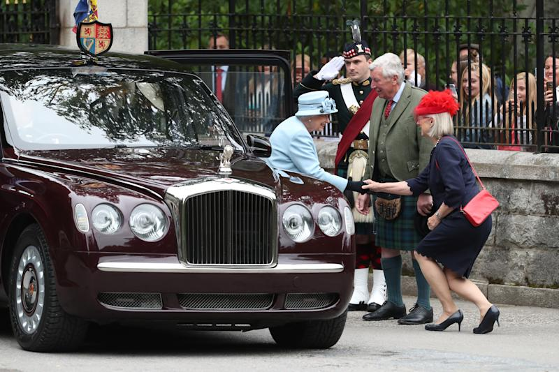 Queen Elizabeth II arrives to inspect the Balaklava Company, 5 Battalion The Royal Regiment of Scotland at the gates at Balmoral, as she takes up summer residence at the castle. (Photo by Andrew Milligan/PA Images via Getty Images)