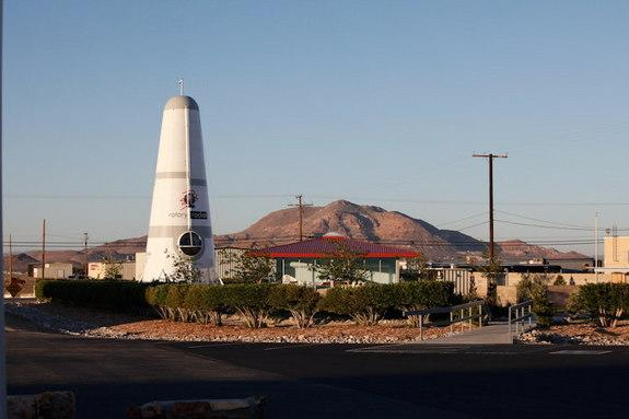Rotary Rocket spaceship is on display at the Mojave Air and Space Port in California, the site of several Roton Atmospheric Test Vehicle (ATV) test flights.