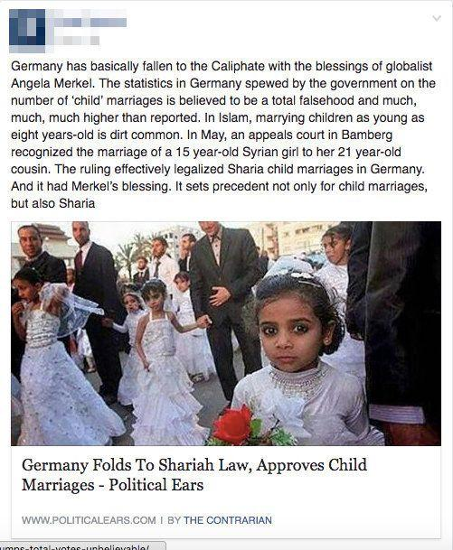 """<a href=""""http://www.snopes.com/germany-allows-child-marriages/"""" target=""""_blank"""">False</a>."""