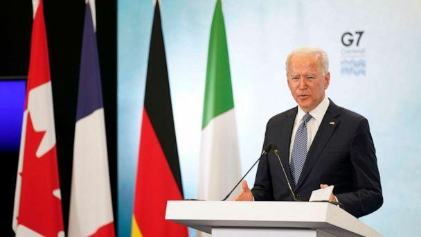 PHOTO: President Joe Biden speaks during a news conference after attending the G-7 summit, June 13, 2021, at Cornwall Airport in Newquay, England. (Patrick Semansky/AP)