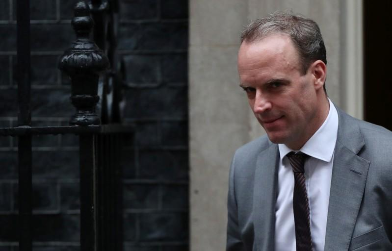 Britain's Foreign Secretary Dominic Raab is seen outside Downing Street in London