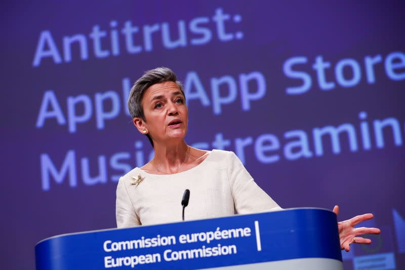 EU's Vestager holds a news conference on Apple anti-trust complaint