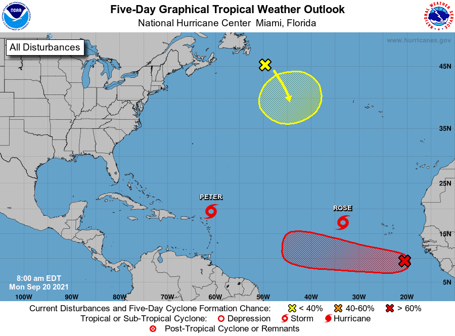 Forecasters are monitoring Tropical Storms Peter and Rose along with two other weather disturbances in the Atlantic Basin.