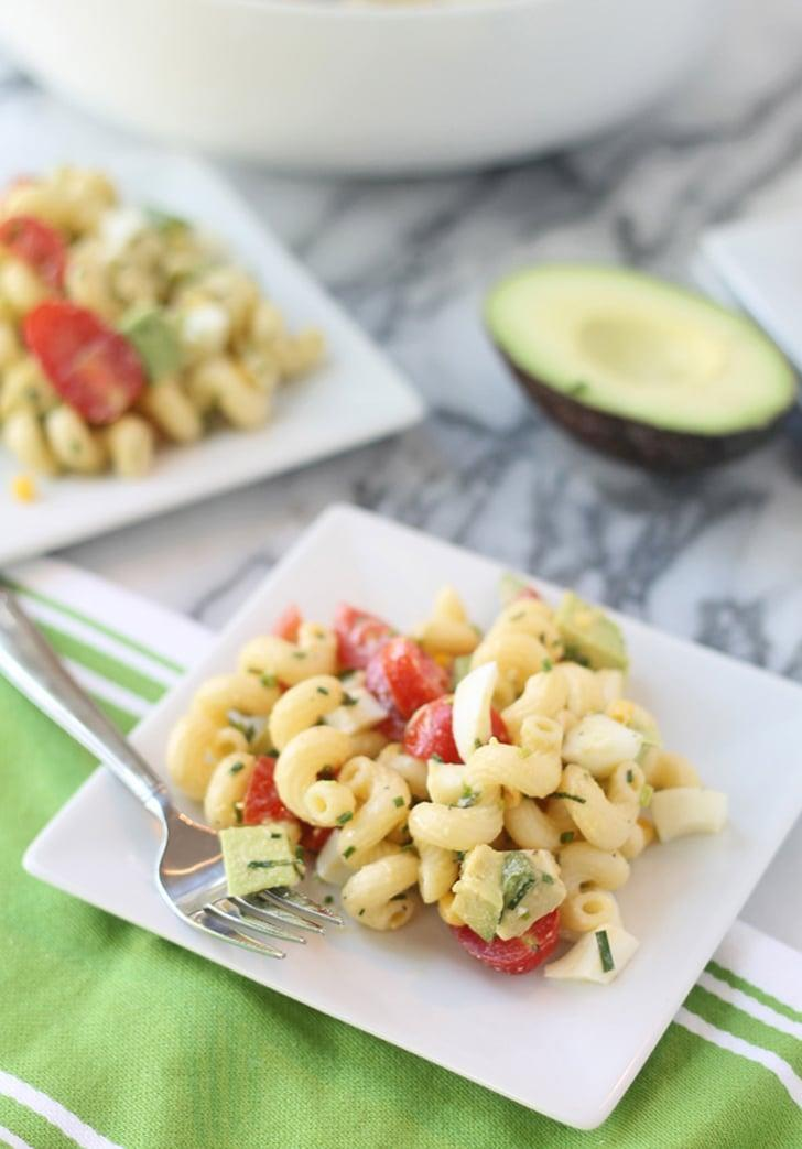 """<p>Light, refreshing, and full of flavor, this spin on the traditional salad is as good as it gets. Complete with hard-boiled eggs, creamy avocados, ripe cherry tomatoes, sweet corn, chives, crispy bacon, and blue cheese, this pasta salad is as tasty as it sounds. Topped off with a super light red wine vinaigrette, be sure to whip this up before your next picnic.</p> <p><strong>Get the recipe</strong>: <a href=""""http://www.cookingforkeeps.com/2013/05/17/cobb-pasta-salad-with-red-wine-vinaigrette/"""" class=""""link rapid-noclick-resp"""" rel=""""nofollow noopener"""" target=""""_blank"""" data-ylk=""""slk:cobb pasta salad with red wine vinaigrette"""">cobb pasta salad with red wine vinaigrette</a></p>"""