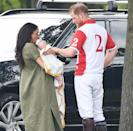 """<p>Harry took a break from <a href=""""https://people.com/royals/meghan-markle-doting-archie-first-outing-polo-match/"""" rel=""""nofollow noopener"""" target=""""_blank"""" data-ylk=""""slk:his charity polo match to welcome his youngest fan"""" class=""""link rapid-noclick-resp"""">his charity polo match to welcome his youngest fan</a>: a then-two-month-old baby Archie at his first public outing.</p>"""