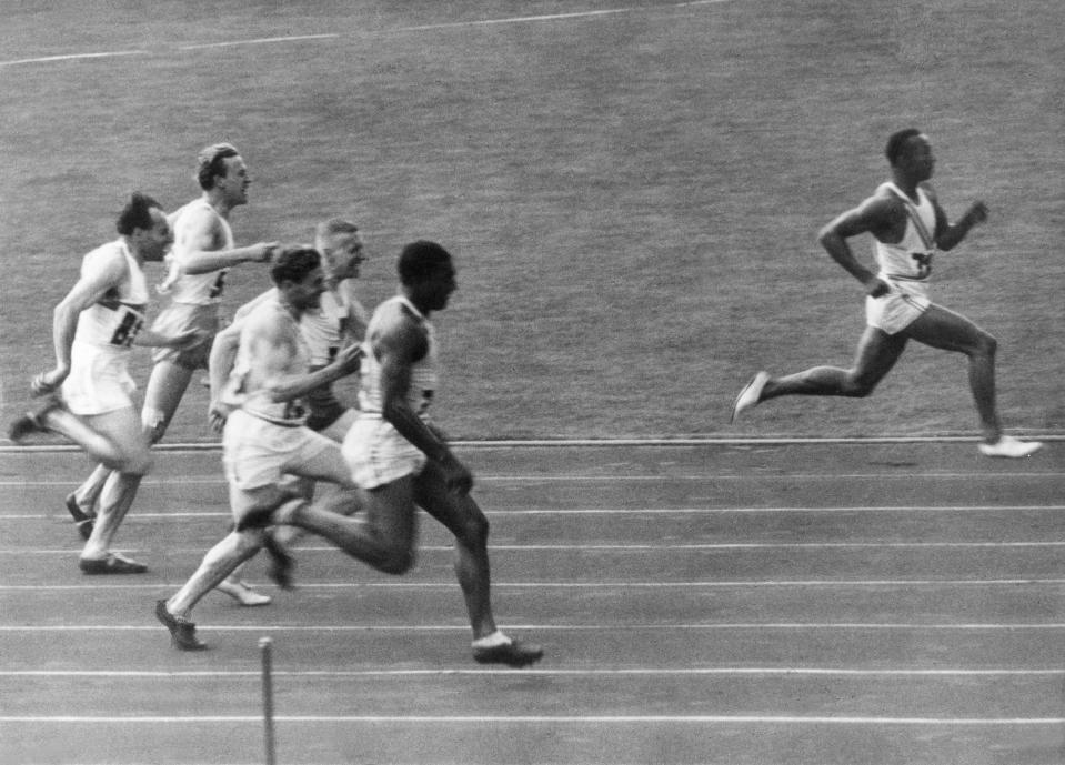 <p>At the 1936 Berlin Games, black American athlete Jesse Owens gave comeuppance to the myth of the Nazi superman. The American won four gold medals, beating out the supposedly superior German athletes and allegedly, leaving Hitler so stymied he refused to even meet Owens. (Getty) </p>