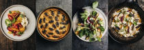 """This combination of photos shows recipes, from left, tomatoes and peaches with honey vinegar and burrata curds, Mulberry clafoutis, Cashew miso cream with young vegetables and a Crayfish and lovage omelette, from the cookbook """"How Wild Things Are: Cooking, Fishing and Hunting at the Bottom of the World,"""" by Analiese Gregory. (Adam Gibson/Hardie Grant Books via AP)"""