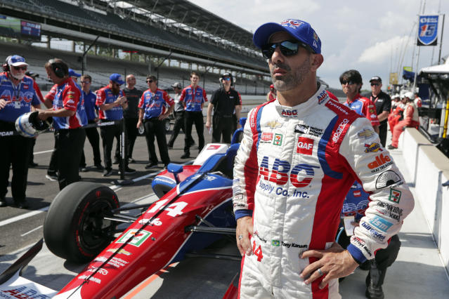 FILE - In this May 19, 2018, file photo, Tony Kanaan, of Brazil, watches after his run during qualifications for the IndyCar Indianapolis 500 auto race at Indianapolis Motor Speedway, in Indianapolis. Kanaan will get to race 5 oval events, including the Indianapolis 500, in what will be called his farewell tour this upcoming IndyCar season. (AP Photo/Michael Conroy, File)