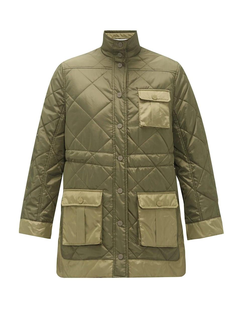 """<br><br><strong>Ganni</strong> Quilted Recycled-Ripstop Jacket, $, available at <a href=""""https://www.matchesfashion.com/products/Ganni-Quilted-recycled-ripstop-jacket-1341666"""" rel=""""nofollow noopener"""" target=""""_blank"""" data-ylk=""""slk:Matches Fashion"""" class=""""link rapid-noclick-resp"""">Matches Fashion</a>"""