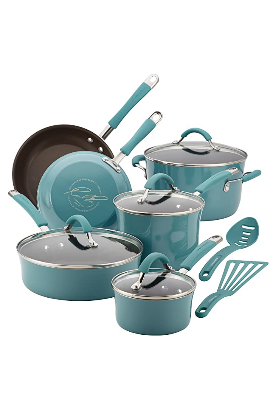 """<p><strong>Rachael Ray</strong></p><p>amazon.com</p><p><strong>$149.99</strong></p><p><a href=""""https://www.amazon.com/dp/B00JYHNNYK?tag=syn-yahoo-20&ascsubtag=%5Bartid%7C10058.g.34480122%5Bsrc%7Cyahoo-us"""" rel=""""nofollow noopener"""" target=""""_blank"""" data-ylk=""""slk:SHOP IT"""" class=""""link rapid-noclick-resp"""">SHOP IT</a></p><p>A 12-piece pot and pans set to help any amateur cook start off on the right foot in the kitchen. It comes in several colors, though our pick is this teal blue color.</p>"""