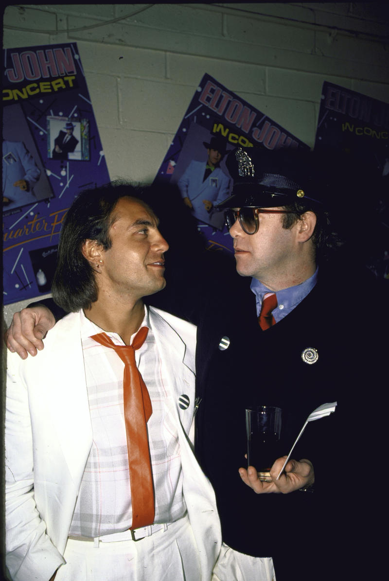 Bernie Taupin and Elton John in the '80s. (Photo: Time Life Pictures/DMI/The LIFE Picture Collection via Getty Images)