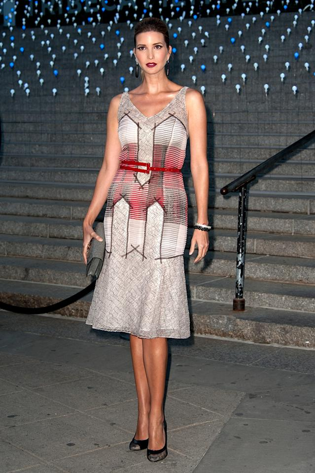 "<p class=""MsoNormal""><span>Wearing the same odd red-and-grey Carolina Herrera dress she did at an earlier event, Ivanka Trump attends the Vanity Fair party for the 11th annual Tribeca Film Festival at the State Supreme Courthouse on Tuesday in New York. Donning a severe look with slicked back hair and a dark burgundy lip, she wore the Herrera frock earlier in the evening at a </span><span>Alberta Ferretti for Macy's event.</span><span></span></p>  <p class=""MsoNormal""><span>Trump arrived with her husband </span><span>Jared Kushner as part of date night, as their daughter Arabella stayed at home, <a href=""http://www.popsugar.com/Vanity-Fair-Tribeca-Film-Party-Celebrity-Pictures-22719085"">according to Pop Sugar</a>.</span><span><br> <br> Co-founded by Robert De Niro, the Tribeca Film Festival plays host to a gamut of both mainstream and independent films. This year's NYC gathering kicks off Wednesday with a premiere of ""The Five-Year Engagement,"" starring Jason Segel and Emily Blunt.</span></p>"