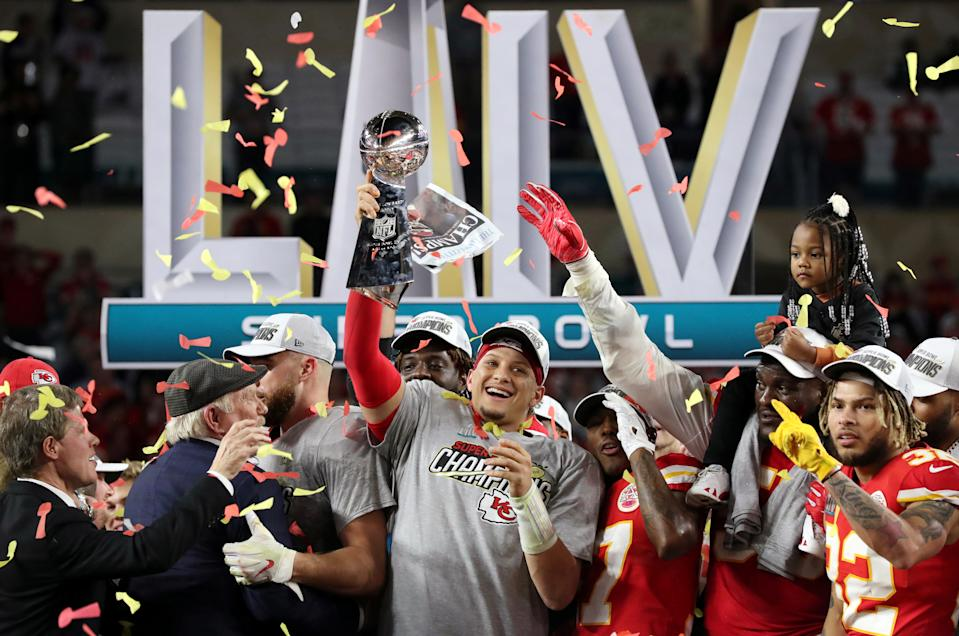 FILE PHOTO: Kansas City Chiefs v Kansas City Chiefs' Patrick Mahomes celebrates with the Vince Lombardi trophy after winning the Super Bowl LIV against San Francisco 49ers at the Hard Rock Stadium, Miami, Florida on February 2, 2020.  REUTERS/Shannon Stapleton
