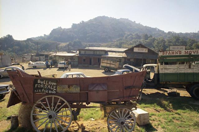 "This is the Spahn movie ranch near Chatsworth, a Los Angeles suburb, shown Dec. 11, 1969, where Charles Manson and his ""family"" of hippies lived at the time actress Sharon Tate and seven others were slain. (AP Photo)"