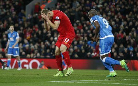 Liverpool's Ragnar Klavan looks dejected after a missed chance