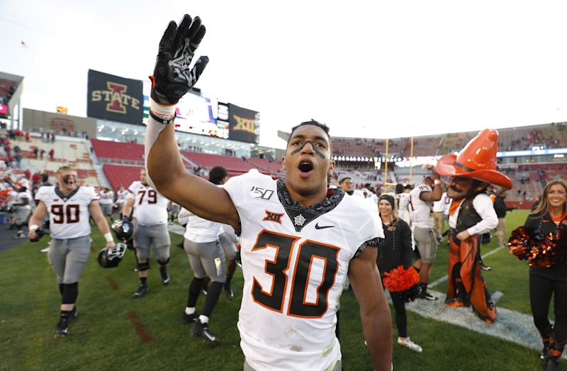 Oklahoma State running back Chuba Hubbard celebrates after a win.