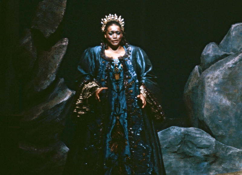 """This 1984 image released by the Metropolitan Opera shows Jessye Norman in the title role of Strauss' """"Ariadne auf Naxos,"""" in New York. Norman died, Monday, Sept. 30, 2019, at Mount Sinai St. Luke's Hospital in New York. She was 74. (Erika Davidson/Metropolitan Opera via AP)"""