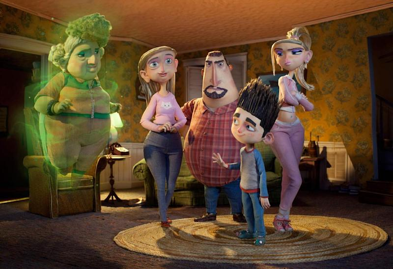 """FILE - This publicity film image released by Focus Features shows characters, from left, Grandma Babcock, voiced by Elaine Stritch, Sandra Babcock, voiced by Leslie Mann, Perry Babcock, voiced by Jeff Garlin, Norman, voiced by Kodi Smit-McPhee, and Courtney, voiced by Anna Kendrick, in the 3D stop-motion film, """"ParaNorman."""" The Focus Features animated film has been nominated for an Academy Award in the Animated Feature Film category. The 85th Academy Awards are on Sunday, Feb. 24, 2013 in Los Angeles. (AP Photo/Focus Features, File)"""