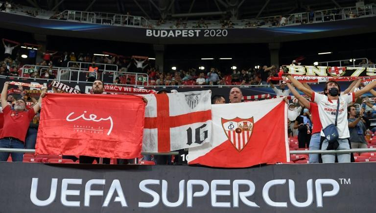 Fans were allowed in when Sevilla met Bayern Munich in the UEFA Super Cup in the Puskas Arena in September