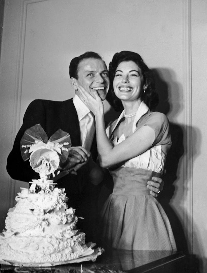 <p>Frank Sinatra and Ava Gardner tied the knot shortly after the singer's divorce was finalized from his first marriage in 1951. The elopement was Ava's third marriage and Frank's second. </p>