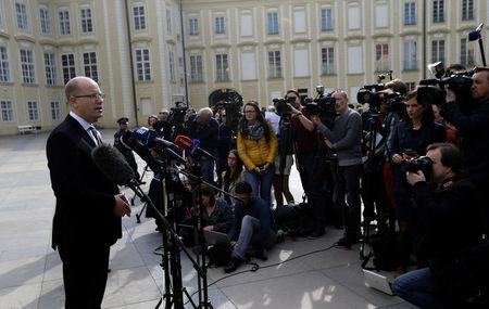 Czech Prime Minister Bohuslav Sobotka speaks to journalists at Prague Castle in Prague, Czech Republic May 4, 2017.    REUTERS/David W Cerny