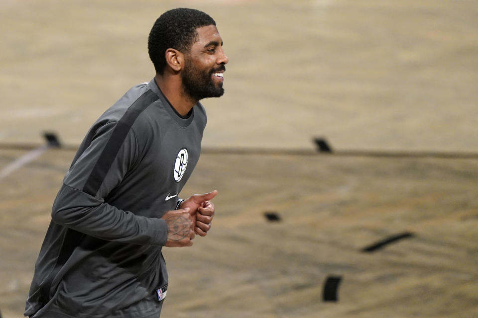 Kyrie Irving in warm-up gear.