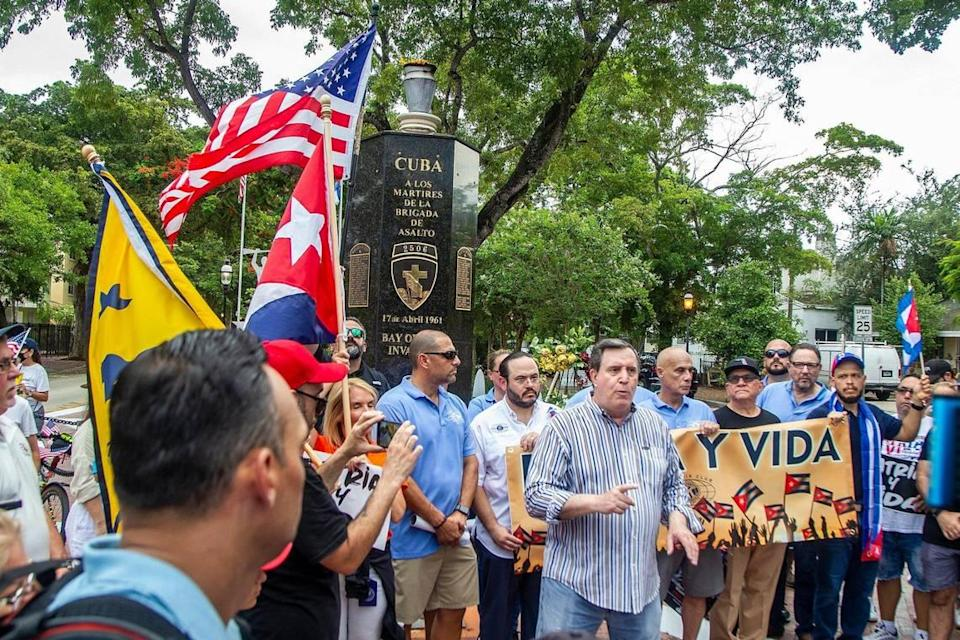 City of Miami Commissioner Joe Carollo speaks at the Bay of Pigs Monument during a march called by the Kiwanis Club of Little Havana along Southwest Eighth Street to show solidarity and support for the Cuban people asking for freedom and the end of 62 years of an oppressive authoritarian regime on the island, on July Friday 23, 2021.