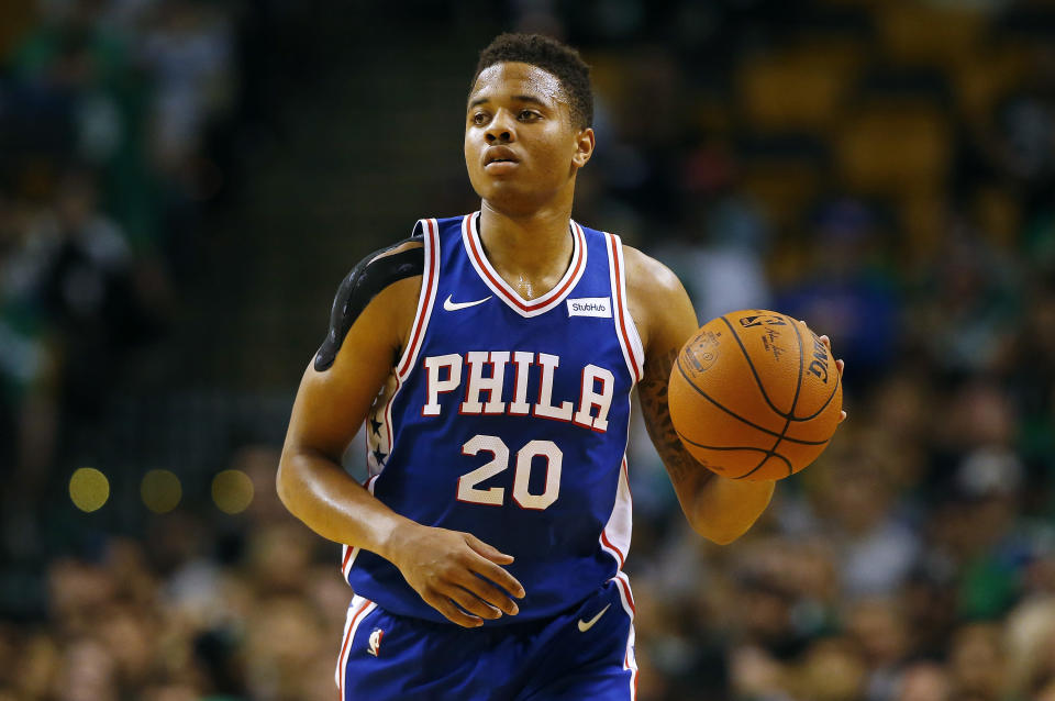 Markelle Fultz's right shoulder has been the source of a lot of questions. (AP)