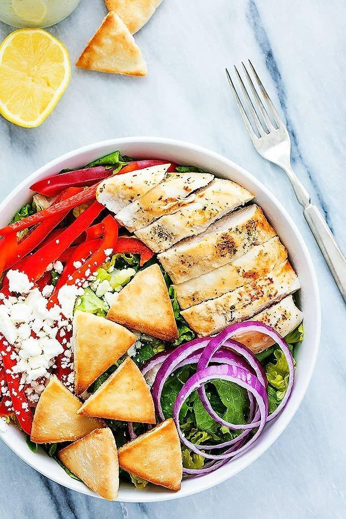 """<p>Pita chip croutons are welcome on our salads any day.</p><p><a href=""""http://www.lecremedelacrumb.com/2016/01/chicken-gyro-salad-with-tzatziki-dressing.html"""" rel=""""nofollow noopener"""" target=""""_blank"""" data-ylk=""""slk:Get the recipe from Le Creme de la Crumb »"""" class=""""link rapid-noclick-resp""""><em>Get the recipe from Le Creme de la Crumb »</em></a><br></p>"""