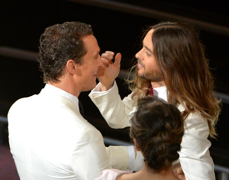 Matthew McConaughey, left, congratulates Jared Leto in the audience during the Oscars at the Dolby Theatre on Sunday, March 2, 2014, in Los Angeles. (Photo by John Shearer/Invision/AP)