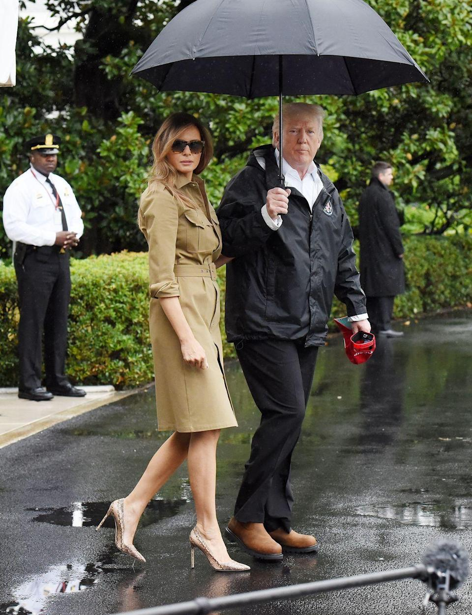 "<p>""<a href=""https://www.youtube.com/watch?v=Ybq8lGO-e2M"" rel=""nofollow noopener"" target=""_blank"" data-ylk=""slk:Melania Trump, you are an outfit repeater!"" class=""link rapid-noclick-resp"">Melania Trump, you are an outfit repeater!</a>"" Remember the Ralph Lauren shirtdress Trump wore in Saudi Arabia? The first lady received some backlash (<a href=""https://www.vanityfair.com/style/2017/08/melania-trump-michael-kors-dress-outfit-repeating"" rel=""nofollow noopener"" target=""_blank"" data-ylk=""slk:on multiple occasions"" class=""link rapid-noclick-resp"">on multiple occasions</a>) for wearing the same outfit twice.</p>"