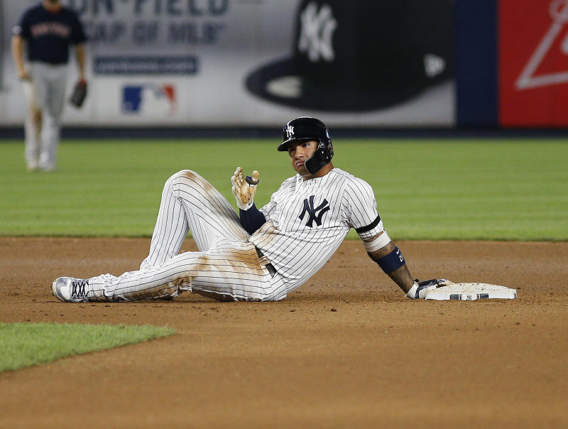 Aug 3, 2019; Bronx, NY, USA; New York Yankees shortstop Gleyber Torres (25) reacts after hitting a double against the Boston Red Sox during the seventh inning of game two of a doubleheader at Yankee Stadium. Mandatory Credit: Andy Marlin-USA TODAY Sports