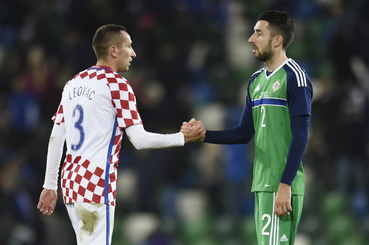 Britain Football Soccer - Northern Ireland v Croatia - International Friendly - Windsor Park, Belfast, Northern Ireland - 15/11/16 Northern Ireland's Shane Ferguson shakes hands after the match with Croatia's Marin Leovac Reuters / Clodagh Kilcoyne Livepic EDITORIAL USE ONLY.