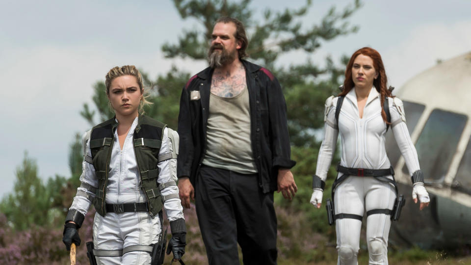 Natasha (Scarlett Johansson) reconnects with figures from her past in 'Black Widow', including Yelena (Florence Pugh) and Alexei (David Harbour). (Jay Maidment/Marvel Studios/Disney)