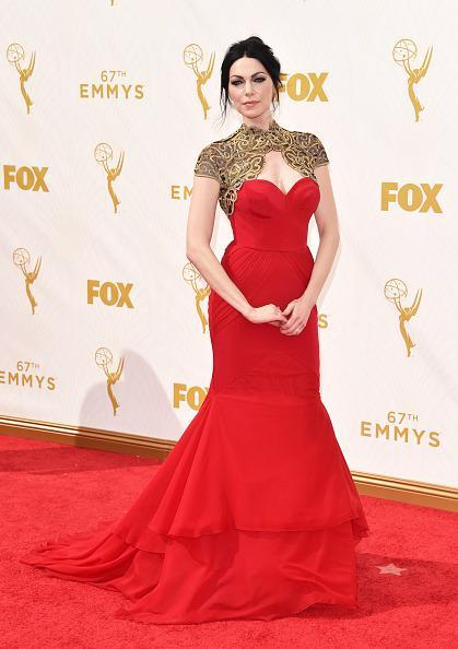 """<p>Laura Prepon, """"Orange Is the New Black"""" star, stood out in a red gown made by Christian Siriano. The red gown was basically a red strapless gown made a little more fancy with a gold neckpiece that framed her chest.<br></p>"""