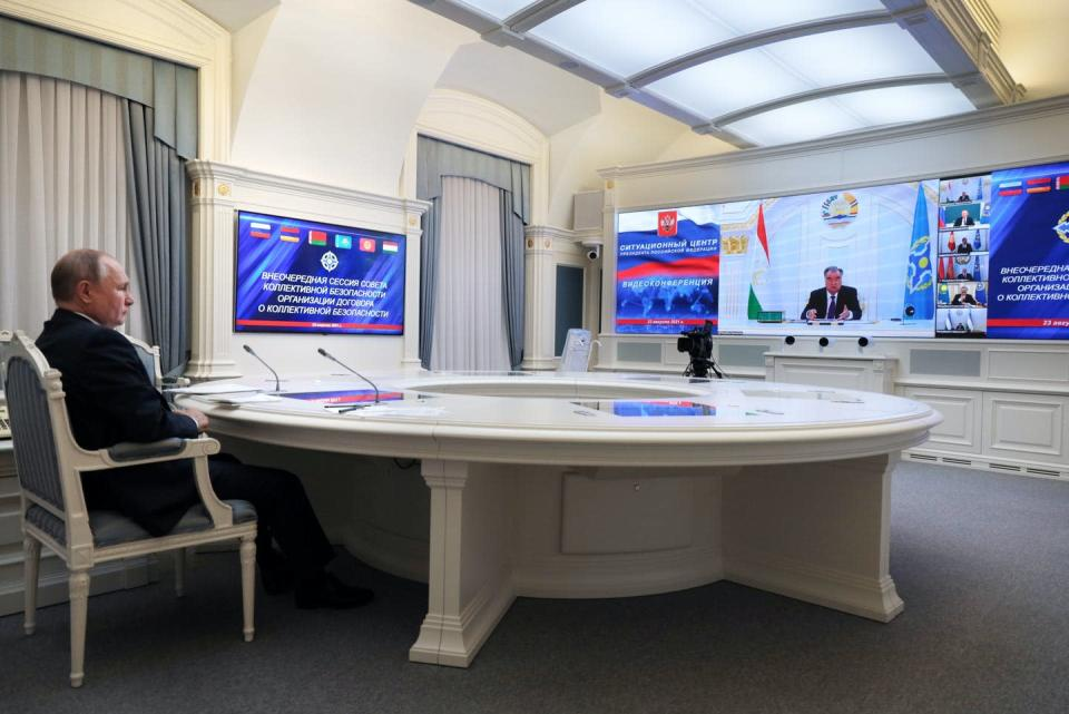 """<span class=""""caption"""">Russian President Vladimir Putin takes part in a virtual meeting with leaders of the Collective Security Treaty Organisation to discuss the situation in Afghanistan in Moscow in August 2021.</span> <span class=""""attribution""""><span class=""""source"""">(Evgeniy Paulin, Sputnik, Kremlin Pool Photo via AP)</span></span>"""