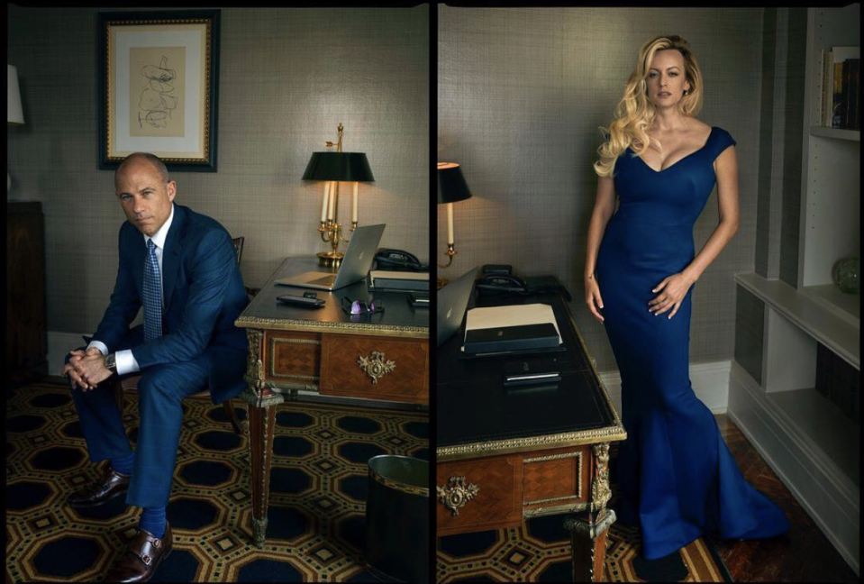 Michael Avanetti and Stormy Daniels in the October issue of Vogue, photographed by Annie Liebovitz. (Photo: Instagram via Vogue)