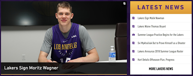 The Lakers front page doesn't have any mention of LeBron yet. (Lakers.com)