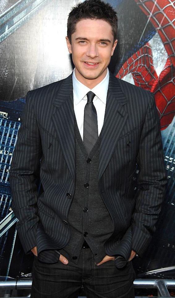 "Topher Grace strikes a pose at the ""Spider-Man 3"" premiere. Dimitrios Kambouris/<a href=""http://www.wireimage.com"" target=""new"">WireImage.com</a> - April 30, 2007"