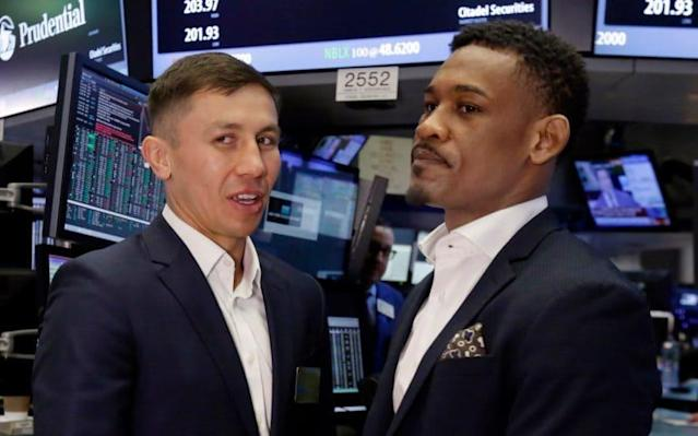 <span>Gennady Golovkin and Daniel Jacobs come face-to-face in the New York Stock Exchange</span> <span>Credit: AP </span>
