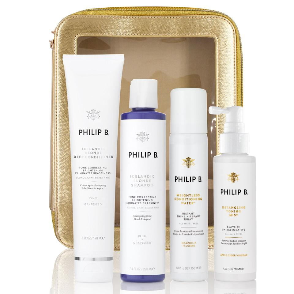"""<p>Whether your grandmother has been embracing her grays for years, started to transition to silver strands during the pandemic, or rocks a platinum-blonde bleach job, the Philip B Ultimate Blonde & Gray Savior Gift Set is going to make maintenance super easy for her. The Icelandic Blonde Shampoo and Deep Conditioner <a href=""""https://www.allure.com/gallery/best-purple-shampoo-conditioner-blonde-hair?mbid=synd_yahoo_rss"""" rel=""""nofollow noopener"""" target=""""_blank"""" data-ylk=""""slk:keep brassiness at bay"""" class=""""link rapid-noclick-resp"""">keep brassiness at bay</a> with plum extract, the Weightless Conditioning Water sprays in healthy-looking glossiness, and the Detangling Toning Mist helps rebalance hair to an ideal pH. Grandma will be such a babe. (OK, even more of one.)</p> <p><strong>$115</strong> (<a href=""""https://shop-links.co/1722913509133382990"""" rel=""""nofollow noopener"""" target=""""_blank"""" data-ylk=""""slk:Shop Now"""" class=""""link rapid-noclick-resp"""">Shop Now</a>)</p>"""