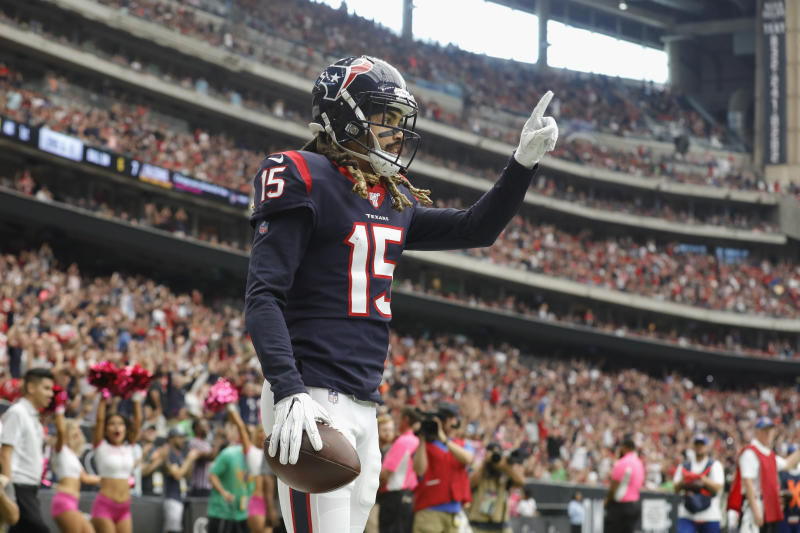 HOUSTON, TX - OCTOBER 06: Will Fuller #15 of the Houston Texans celebrates a touchdown reception against the Atlanta Falcons in the first quarter at NRG Stadium on October 6, 2019 in Houston, Texas. (Photo by Tim Warner/Getty Images)