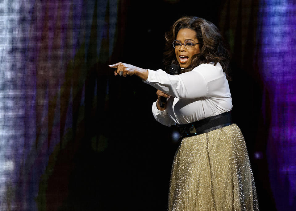 VANCOUVER, BRITISH COLUMBIA - JUNE 24: Oprah Winfrey speaks onstage at Rogers Arena on June 24, 2019 in Vancouver, Canada. (Photo by Andrew Chin/Getty Images)