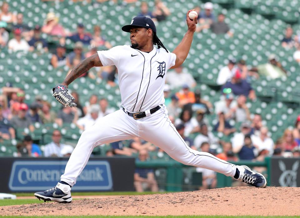 Detroit Tigers reliever Gregory Soto (65) pitches against the Houston Astros during 10th-inning action Sunday, June 27, 2021 at Comerica Park in Detroit.