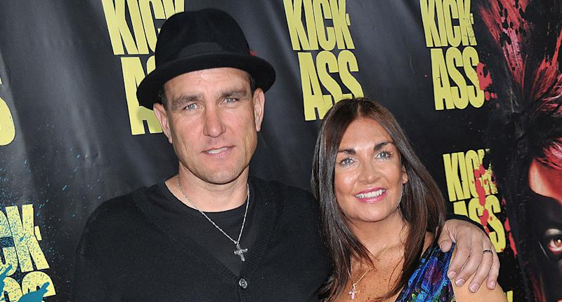 "Vinnie Jones and wife Tanya arrive at the premiere of ""Kick-Ass"" held at the ArcLight Theater in Hollywood. (Photo by Frank Trapper/Corbis via Getty Images)"