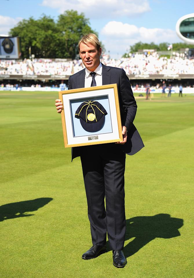 LONDON, ENGLAND - JULY 19: Shane Warne of Australia is inducted into the ICC Hall of Fame during day two of the 2nd Investec Ashes Test match between England and Australia at Lord's Cricket Ground on July 19, 2013 in London, England. (Photo by Gareth Copley/Getty Images)