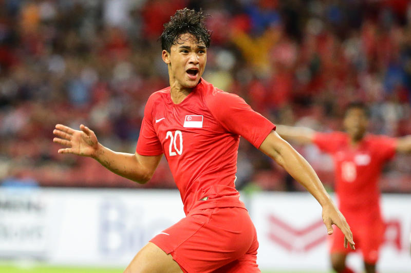 Ikhsan Fandi in action during the AFF Suzuki Cup Group B match between Singapore and Timor-Leste at the Singapore National Stadium on 21 November, 2018. (Photo by Suhaimi Abdullah/Getty Images)