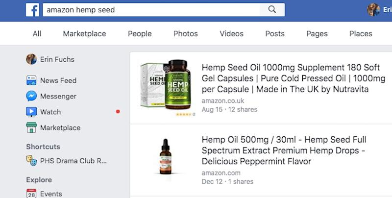 A search on Facebook turns up hemp products that can be purchased on Amazon.