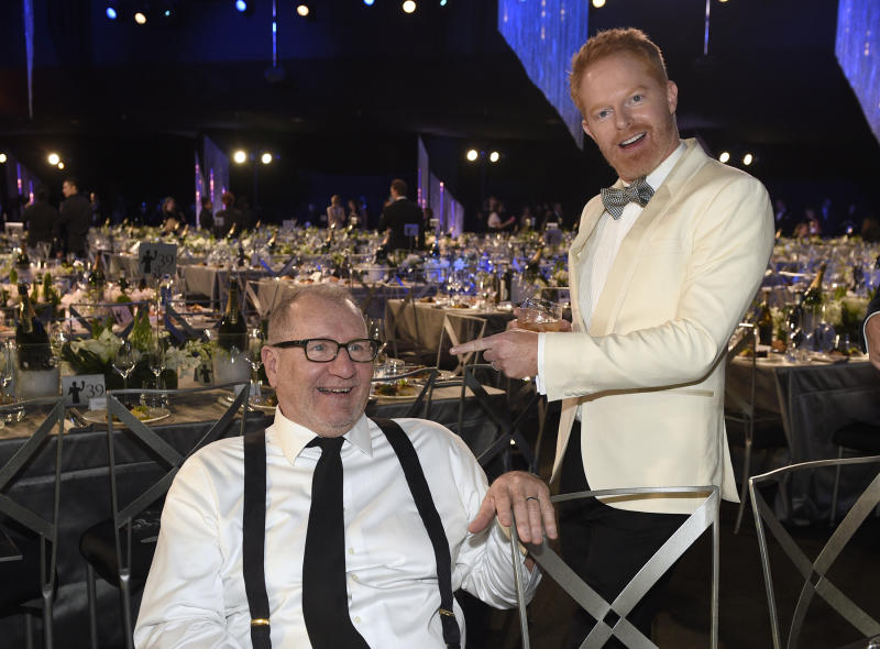 """FILE - In this Jan. 29, 2017, file photo, """"Modern Family"""" cast members Ed O'Neill, left, and Jesse Tyler Ferguson attend the 23rd annual Screen Actors Guild Awards in Los Angeles. The popular comedy series ends its 11-season run with a two-hour finale on Wednesday. (Photo by Chris Pizzello/Invision/AP, File)"""